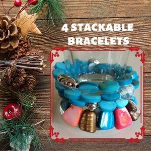 Jewelry - Set of 4 Bracelets - Aqua Shell & Multicolor